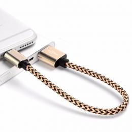 Opletený nabíjecí kabel pro iPhone 8 Pin pro Iphone v délce 25 cm., barva zlatá