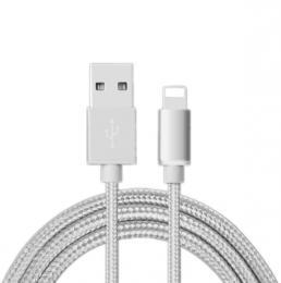 Opletený nabíjecí kabel pro iPhone 8 Pin pro Iphone v délce 200 cm., barva støíbrná - zvìtšit obrázek