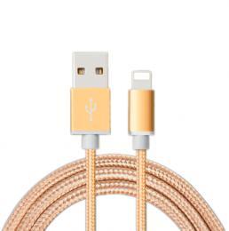 Opletený nabíjecí kabel pro iPhone 8 Pin pro Iphone v délce 200 cm., barva zlatá