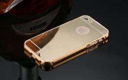 Exkluzivní zrcadlový obal s hliníkovým rámeèkem pro iPhone 5, 5S, iPhone SE, zlatá