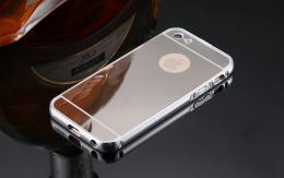 Exkluzivní zrcadlový obal s hliníkovým rámeèkem pro iPhone 5, 5S, iPhone SE, støíbrná