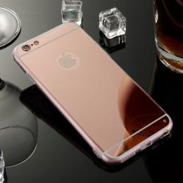 Exkluzivní zrcadlový obal s hliníkovým rámeèkem pro iPhone 6, 6S, rosegold