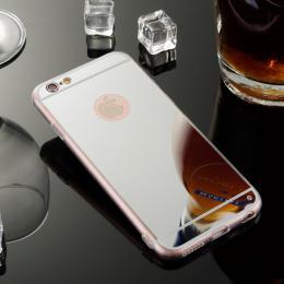 Exkluzivní zrcadlový obal s hliníkovým rámeèkem pro iPhone 6, 6S, støíbrná