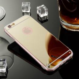 Exkluzivní zrcadlový obal s hliníkovým rámeèkem pro iPhone 6, 6S, zlatá
