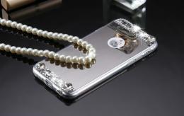 Dámský elegantní zrcadlový kryt s kamínky pro iphone 5, 5s, iPhone SE, støíbrná