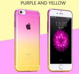 Silikonový obal na iPhone 5, 5s, iPhone SE, fialovo žlutý