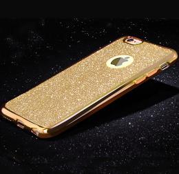 Silikonový obal na iPhone 5, 5s, iPhone SE se tøpytivým zadním blistrem, zlatá