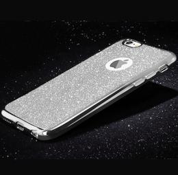Silikonový obal na iPhone 5, 5s, iPhone SE se tøpytivým zadním blistrem, støíbrná