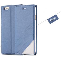 Kožené flip pouzdro pro iPhone 5, 5s, iPhone SE, modrá