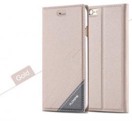 Kožené flip pouzdro pro iPhone 5, 5s, iPhone SE, zlatá