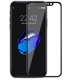 4D tvrzené sklo na iPhone X, barva èerná, tvrdost 9H, tlouš�ka 0,3mm.