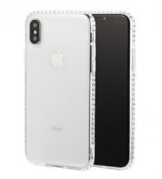 Luxusní silikonové pouzdro s kamínky po obvodu pouzdra pro iPhone X, transparentní