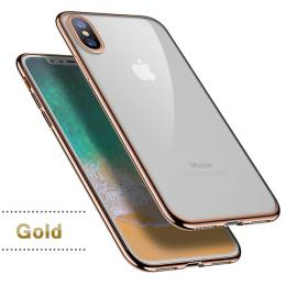 Silikonový ultratenký obal na iPhone X s pokovením, barva zlatá