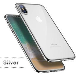 Silikonový ultratenký obal na iPhone X s pokovením, barva støíbrná
