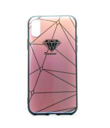 Luxusní silikonové pouzdro s potiskem diamantu pro iPhone X, barva rùžová