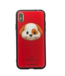 Pevný obal s potiskem animoji pro iPhone X, barva èervená s motivem dog