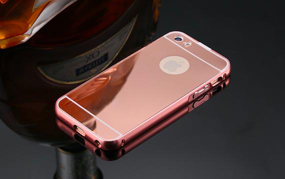 Exkluzivní zrcadlový obal s hliníkovým rámeèkem pro iPhone 5, 5S, iPhone SE, rosegold