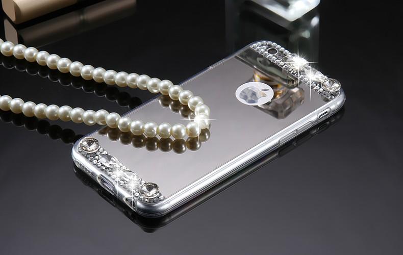 Dámský elegantní zrcadlový kryt s kamínky pro iphone 6, 6s, støíbrná