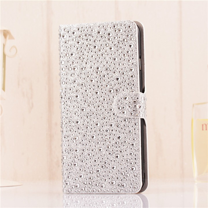 Elegantní dámské kožené Flip pouzdro s kamínky pro iPhone 6, 6s
