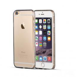 Luxusní silikonové pouzdro s kamínky po obvodu na iPhone 5/5s, iPhone SE, barva zlatá