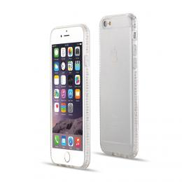 Luxusní silikonové pouzdro s kamínky po obvodu na iPhone 5/5s, iPhone SE, transparentní