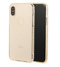 Luxusní silikonové pouzdro s kamínky po obvodu na iPhone X, barva zlatá