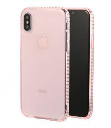 Luxusní silikonové pouzdro s kamínky po obvodu na iPhone X, barva rùžová