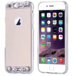 Dámský elegantní zrcadlový kryt s kamínky na iPhone 8, zlatý