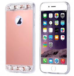 Dámský elegantní zrcadlový kryt s kamínky na iPhone 8, rosegold