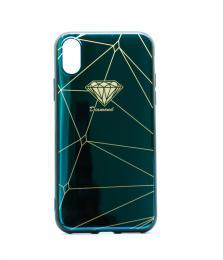Luxusní silikonové pouzdro s potiskem diamantu na iPhone X, barva zelenomodrá