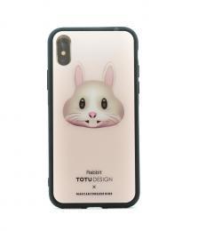 Pevný obal s potiskem animoji na iPhone X, barva rùžová s motivem rabbit