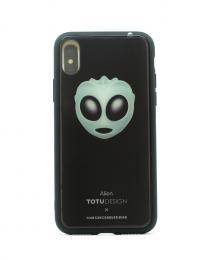 Pevný obal s potiskem animoji na iPhone X, barva èerná s motivem alien  - zvìtšit obrázek