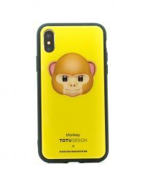 Pevný obal s potiskem animoji na iPhone X, barva žlutá s motivem monkey