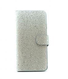 Elegantní dámské kožené Flip pouzdro s kamínky na iPhone 6/6s, barva støíbrná