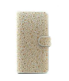 Elegantní dámské kožené Flip pouzdro s kamínky na iPhone 6/6s, barva zlatá