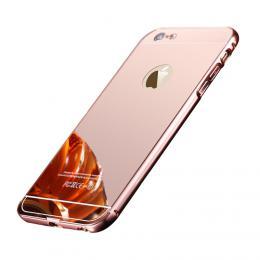 Exkluzivní zrcadlový obal s hliníkovým rámeèkem na iPhone 6/6s, rosegold