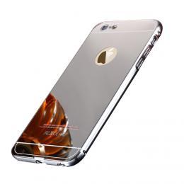 Exkluzivní zrcadlový obal s hliníkovým rámeèkem na iPhone 6/6s, støíbrný