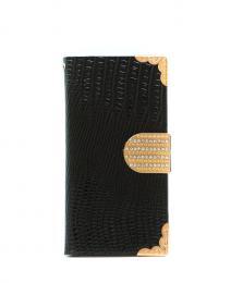 Elegantní dámské kožené Flip pouzdro na iPhone 5/5s, iPhone SE, barva èerná