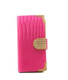 Elegantní dámské kožené Flip pouzdro na iPhone 5/5s, iPhone SE, barva rùžová