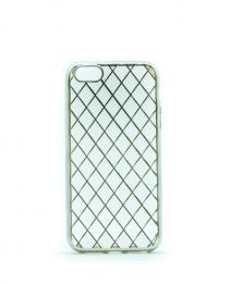 Luxusní silikonový obal s kovovým møížkováním na iPhone 5/5s, iPhone SE, støíbrný