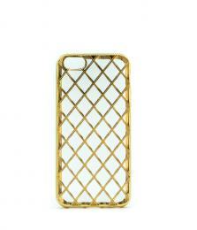Luxusní silikonový obal s kovovým møížkováním na iPhone 5/5s, iPhone SE, zlatý