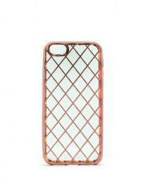 Luxusní silikonový obal s kovovým møížkováním na iPhone 5/5s, iPhone SE, rosegold