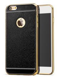 Silikonový obal na iPhone X s imitací kùže a pokovením, èerná