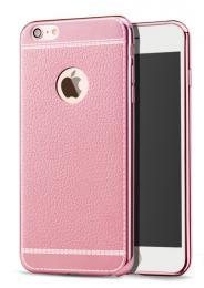 Silikonový obal na iPhone X s imitací kùže a pokovením, rùžová