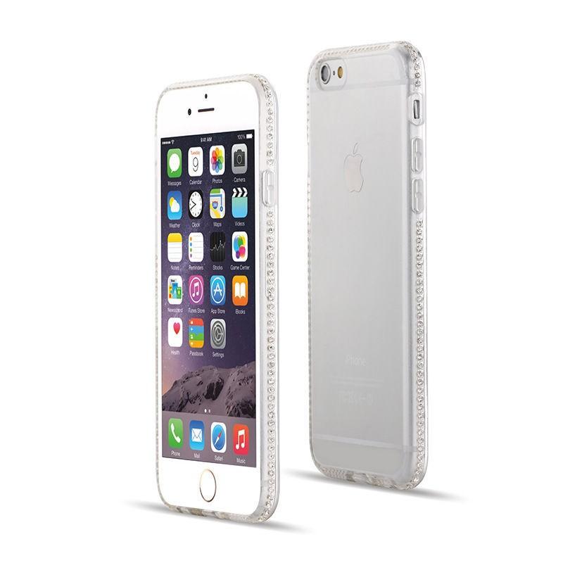 Luxusní silikonové pouzdro s kamínky po obvodu na iPhone 6/6s, transparentní