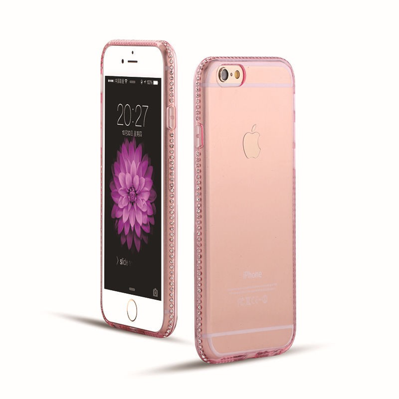 Luxusní silikonové pouzdro s kamínky po obvodu na iPhone 6/6s, barva rùžová