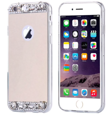 Dámský elegantní zrcadlový kryt s kamínky na iPhone 7, zlatý