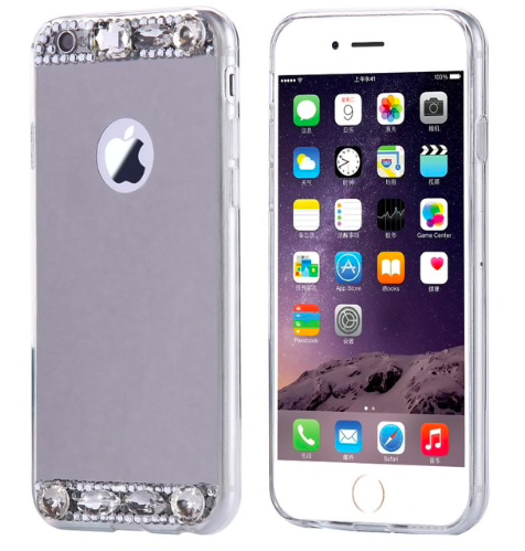 Dámský elegantní zrcadlový kryt s kamínky na iPhone 8, støíbrný