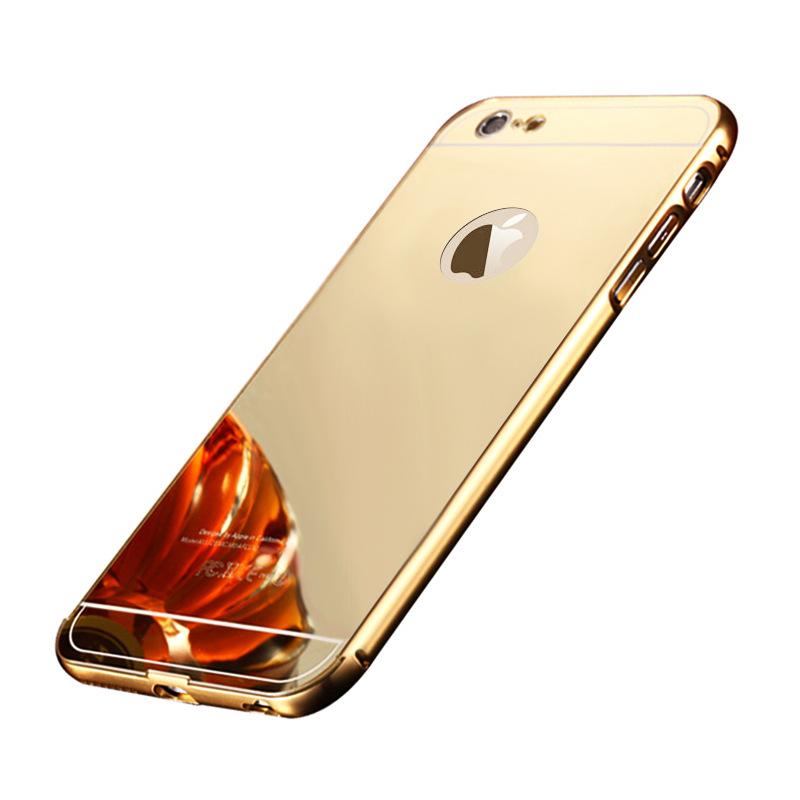 Exkluzivní zrcadlový obal s hliníkovým rámeèkem na iPhone 5/5s, iPhone SE, zlatý