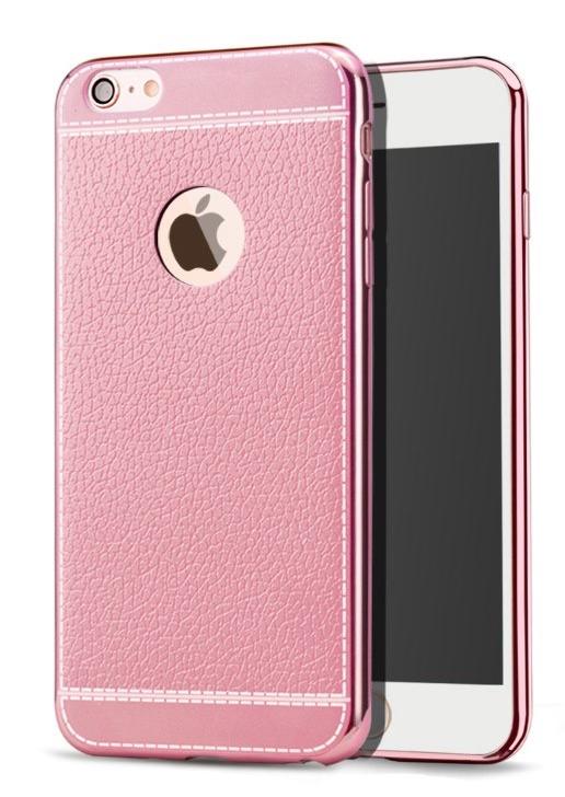 Silikonový obal na iPhone X, XS s imitací kùže a pokovením, rùžová